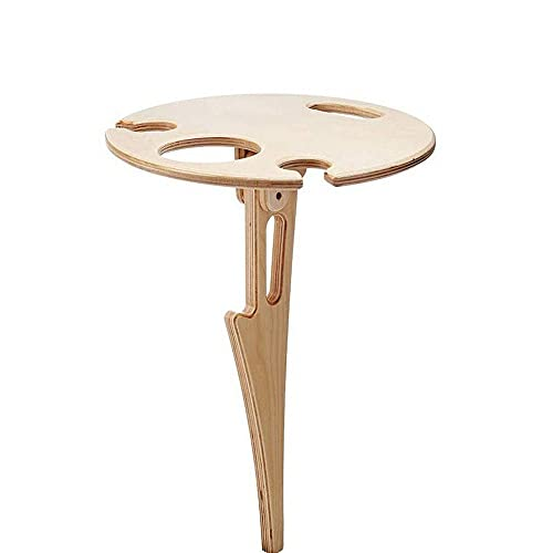 Ruoxiang Mesa de picnic al aire libre, mesa de playa pequeña, plegable, mesa redonda de madera para el parque, picnic de playa (inserto)