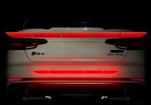 TRUE LINE Automotive Reflective Rear Trunk Fender Back Warning Molding Trim Sticker Safety Markers (Red)
