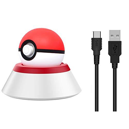 MoKo Ladestation Kompatibel mit Nintendo Switch Poke Ball Plus Controller, Ladestationshalterung Ladestation mit Ladekabel für Switch Pokeball Plus Controller - Rot + Weiß