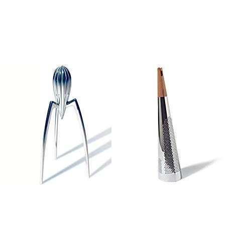 Alessi PSJS Juicy Salif Spremiagrumi Manuale di Design in Fusione di Alluminio & Todo Grattugia per Formaggio di Design, in Acciaio e Legno