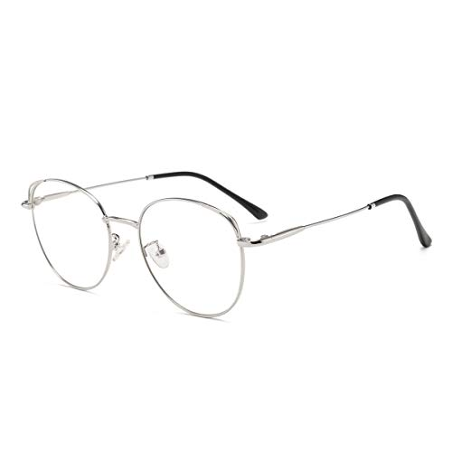 Blaulichtfilter Brille Anti Blaulicht Brille Computerbrille Katzenauge ohne sehstärke Metallgestell Brille Pc Gaming Bluelight Filter Uv Blockieren Blaue Licht Glasses Damen Silber