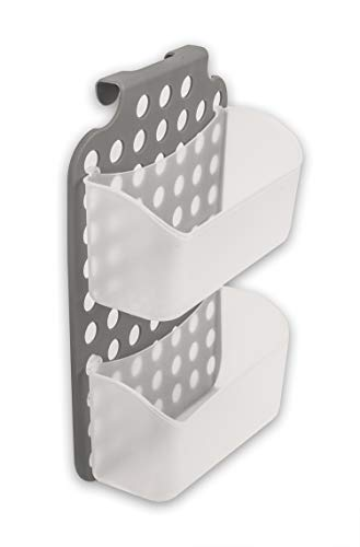 Duschkorb mit 2 Duschablagen zum Hängen - Kunststoff Duschregal für Duschkabine - höhenverstellbar - Hängeregal für Shampoo Seife Duschgel Schwamm etc Badregal Grau
