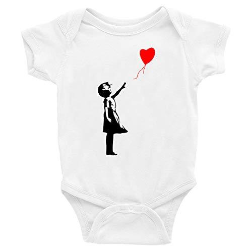 t-shirteria Body de bebé Bansky con globo Love – Pelele – Talla de 0 meses – Idea regalo blanco 0-6 Meses