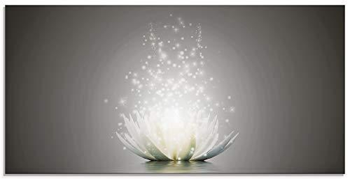 Artland Glasbilder Wandbild Glas Bild einteilig 60x30 cm Querformat Natur Botanik Blumen Lotusblume Seerose Abstrakt Glitzer Kunst S7FD