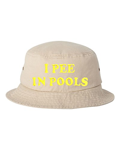 One Size Khaki Adult I Pee in Pools Embroidered Bucket Cap Dad Hat
