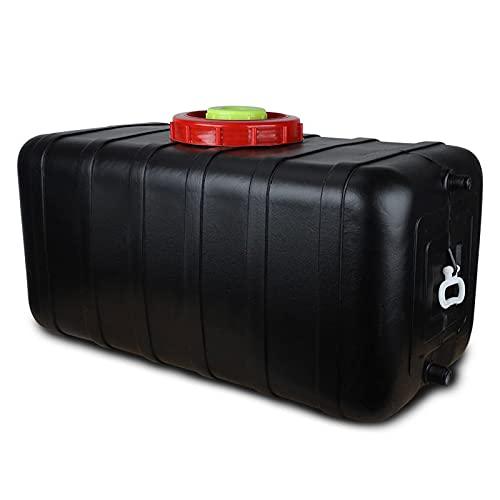 Gran Capacidad Cubo Negro Horizontal Horizontal Barriles De Almacenamiento De Agua Tanque De Agua De Automóvil Grado De Alimentos Espesano Cubo De Plástico Con Cubierta 70l / 75l / 80l / 10(Size:100L)