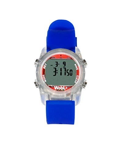 WobL+ World's Smallest & Best Waterproof Vibrating 9 Alarms + Countdown Timer Wristwatch for Sports/Medicine/Meeting/Potty Reminders, Blue
