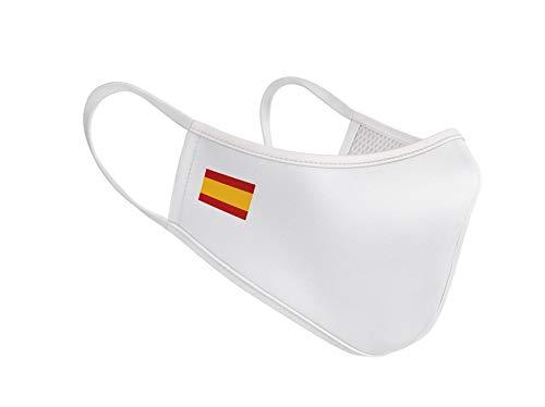 Mascarilla de Tela Reutilizable - Bandera de España Blanca