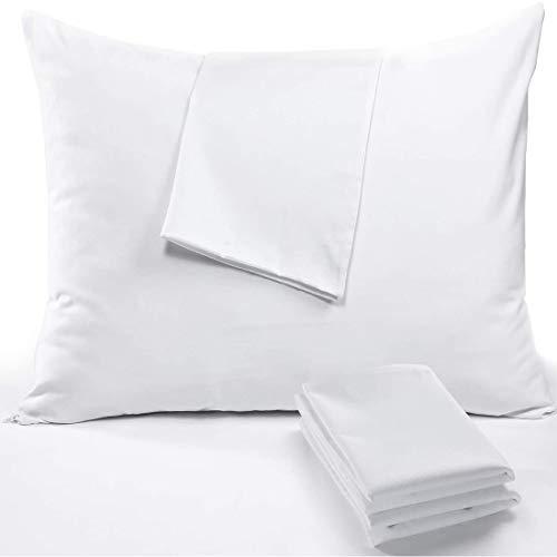 RICHAIR Taie Oreiller Impermeable (65x65cm,2 pièces) - Housse d'oreiller avec Une Fermeture Eclair- Respirant et Anti Sueur&Acarien - Blanc Polyester Protege Oreiller…