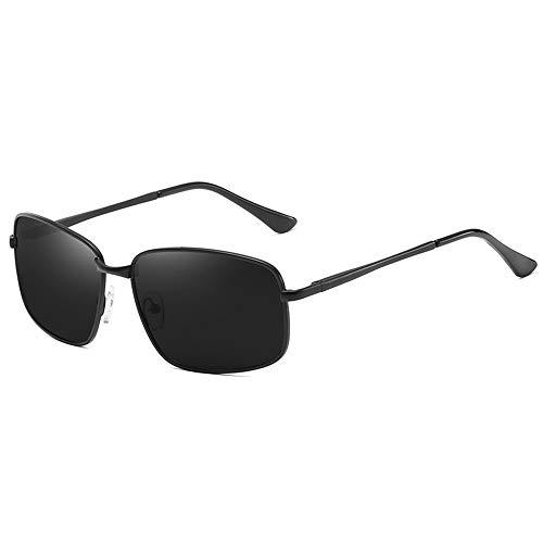 NgMik Gafas De Sol Polarizadas Marco Cuadrado Pequeño Retro Gafas De Sol Femeninas De Metal Polarizador Gafas De Sol De La Pierna Spring Drive Marco Grande Clásico (Color : Black, Size : One Size)