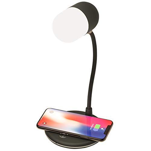 QKa Bluetooth Tischlampe 3 in 1 Wireless Charging Pad, Bluetooth-Lautsprecher, USB Powered Lampe mit Touch Control Dimmer,Schwarz