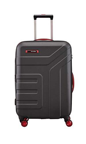 travelite 4-Rad Koffer Größe M mit Dehnfalte + TSA Schloss, Gepäck Serie VECTOR: Robuster Hartschalen Trolley in stylischen Farben, 072048-01, 70 cm, 79 Liter (erweiterbar auf 91 Liter), schwarz/rot
