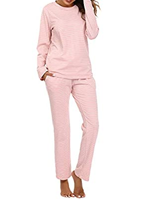 Women's Pajama Set Knit Ultra Soft Thermal Underwear Long Johns Set with T-Shirt and Pants Pink