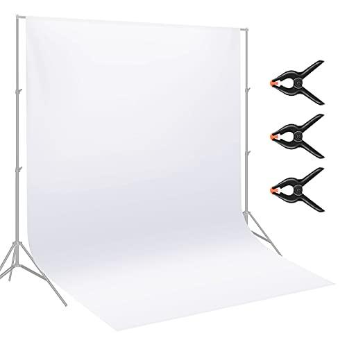 Neewer 9 x 15 Fuß / 2,8 x 4,6 Meter Stoff Fotografie Hintergrund Bildschirm mit 3 Klammern für Foto Video Studio Aufnahmen (weiß)