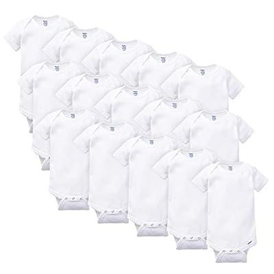 Gerber Baby 15 Piece Onesies Bodysuit Pack, White, Multi-Size (0-3M, 6-9M, 3-6M)