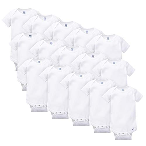 Gerber Baby 15 Piece Onesies Bodysuit Multi Pack, White, (0/3M, 3/6M, 6/9M)