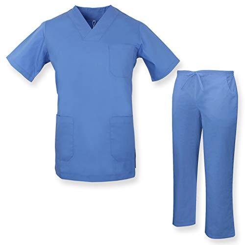 MISEMIYA - Unisex-Schrubb-Set - Medizinische Uniform mit Oberteil und Hose ref.817Q8 - Small, Blauer Himmel
