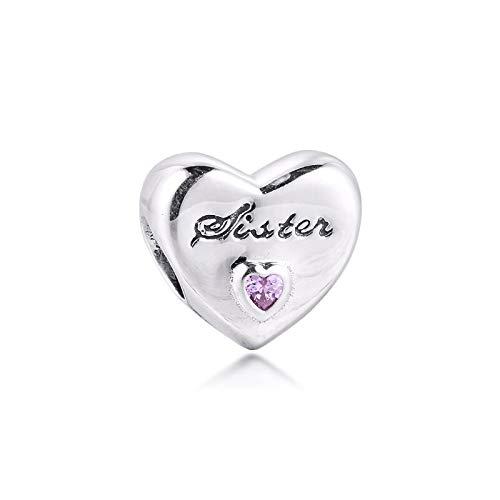 LIIHVYI Pandora Charms para Mujeres Cuentas Plata De Ley 925 Hermana Amor Corazón Rosa Bricolaje Joyería Haciendo Regalo para Todo Compatible con Pulseras Europeos Collars