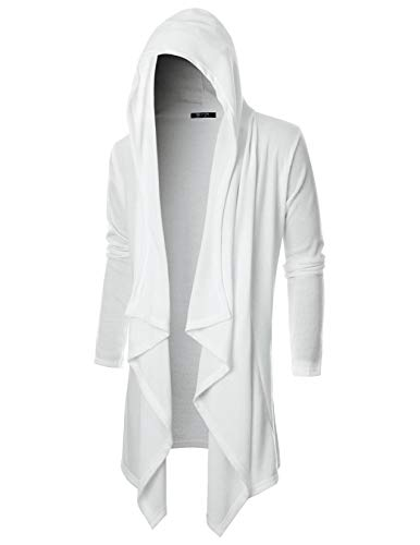 GIVON Mens Long Sleeve Draped Lightweight Ruffle Shawl Collar Cardigan Hooded Cardigan with Pocket/DCC145-WHITE-S