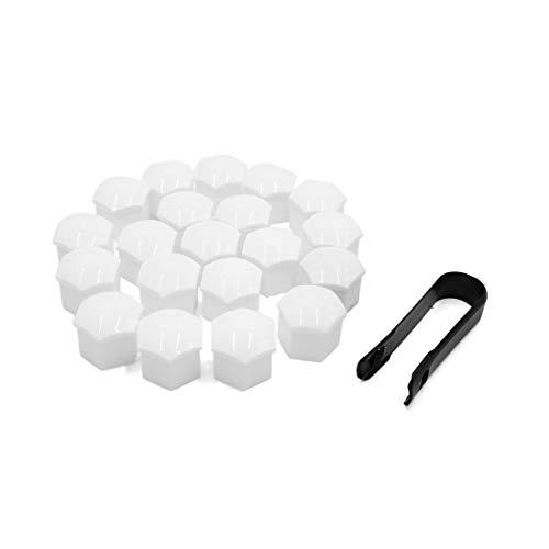 20 tappi per bullone per dadi della ruota in plastica bianca con strumento di rimozione per auto.