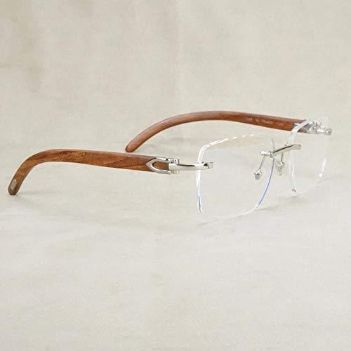 Boner Leesbril Heren Brilmontuur Dames Hout Computer Optisch Prescripiton Carter-bril Man Damesmode, Zilver Vierkant