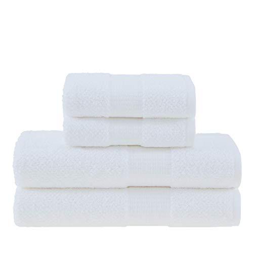 Jogo de Toalhas Gigante, Melina, 4 Peças (2 toalhas de rosto 48x90cm, 2 toalhas de banho 90x150cm), Branco, Buddemeyer