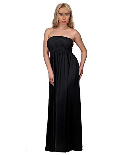 HDE Women's Strapless Maxi Dress Plus Size Tube Top Long Skirt Sundress Cover Up (Black, 4X)