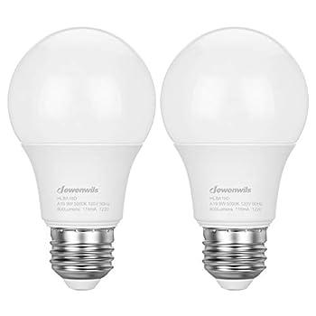 DEWENWILS 2-Pack Dusk to Dawn Light Bulbs Outdoor Automatic On/Off LED Sensor Light Bulb 5000K Daylight Glow 9W 60W Equivalent  Smart Porch Lighting Bulbs 800LM E26 Base ETL Listed