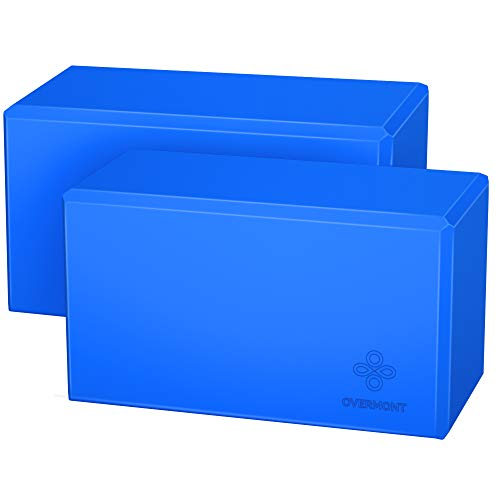 Overmont Bloque de Yoga 2 Unidades (sin Látex, Espuma EVA, Suave, Antideslizante), para Ejercicios Generales Pilates Estiramiento y Meditación de 21 x 15 x 7.5 cm