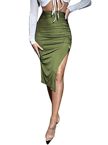 Floerns Women's Solid High Waisted Ruched Split Thigh Bodycon Midi Skirt A Green L