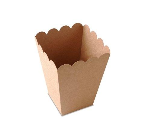 Selfpackaging Caja de Palomitas para Fiestas en Color Kraft con protección alimentaria. Pack de 25 Unidades. - L
