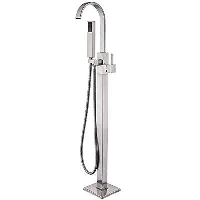 Senlesen Soild Brass Modern Freestanding Bathtub Faucet Tub Filler with Hand Shower Brushed Nickel