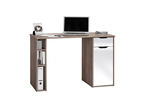 Schreibtisch Bürotisch Arbeitstisch Workstation Eiche Trüffel Weiss Hochglanz