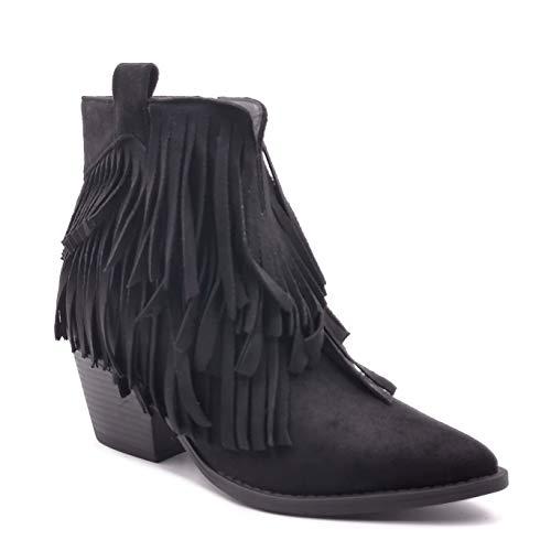 Angkorly - Zapatillas Moda Botines Cowboy Tacones Altos Tendencia Mujer Fleco Gamuza Bloque - Negro FR530 T 40