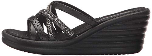Skechers Cali Women's Rumbler Wave-New Lassie Slide Sandal,black,10 M US