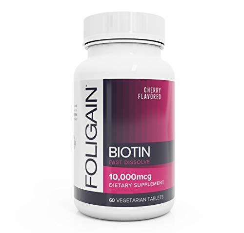 FOLIGAIN BIOTIN 10,000mcg Fast Dissolve Supplement for Healthier-Looking Hair – 60 Vegetarian Tablets
