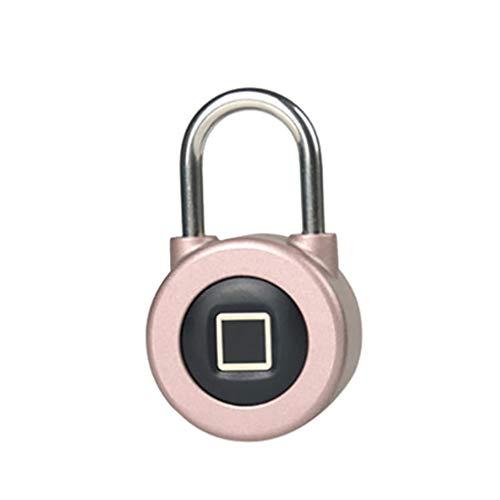 FiedFikt Vingerafdruk Intelligent Lock Hangslot BT Metaal Waterdichte Aansluiting USB Opladen Geschikt voor Huis Deur/Suitcase/Backpack/Gym/Bike (Roze)