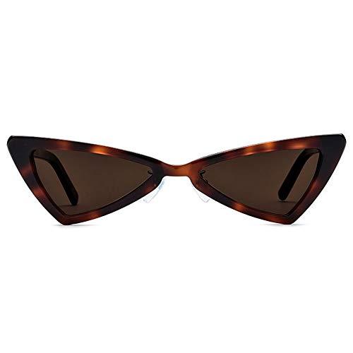 Zhhhk Nuevo Borde Pequeño Gafas De Sol Polarizadas Gafas De Triángulo De Moda Mujer Placa Retro Gafas De Sol Ojo De Gato Marco De Leopardo Marrón Lente Protección UV400