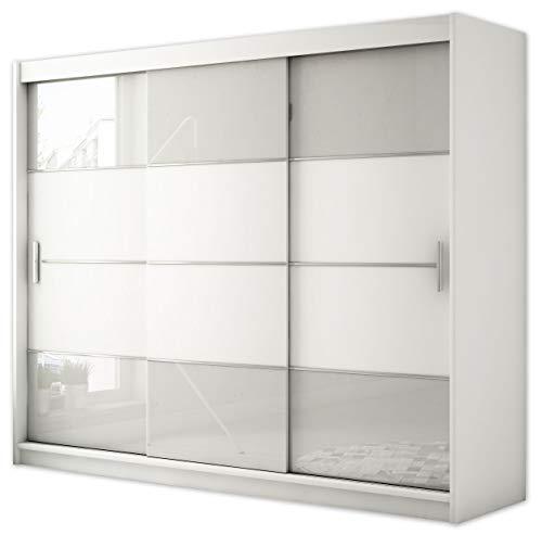 Kryspol Schwebetürenschrank Renato 3 250 Kleiderschrank mit Lacobelglas, Kleiderstange und Einlegeboden Schlafzimmer- Wohnzimmerschrank Schiebetüren Modern Design (Weiß + Weiß Lacobel)
