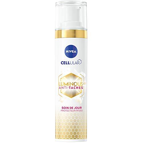 NIVEA Cellular Luminous 630® Soin de Jour Protecteur FPS 50 anti-taches (1 x 40 ml), soin visage enrichi en Acide hyaluronique & Vitamine E, soin femme perfecteur de teint