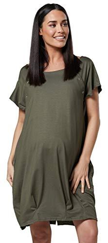 HAPPY MAMA Damen Geburtskleid Krankenhaus Umstands Nachthemd Stillfunktion. 097p (Khaki, 38-40, S)