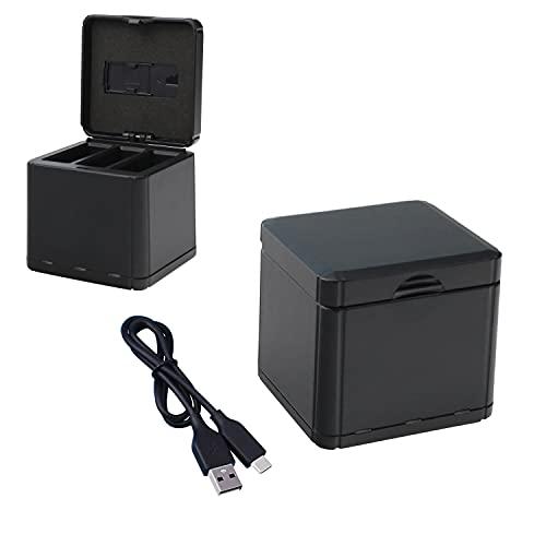 Tineer OSMO Action Charging Box Hub, Batteria 3 in 1 Custodia Storage Case - Supporta adattatore Quick Charge 3.0 con cavo USB di tipo C per caricatore per DJI OSMO Action Camera Accessory