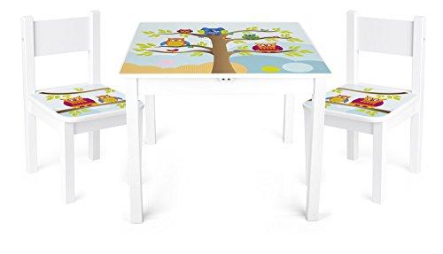 Leomark Weiß Kindertisch und 2 Stühle aus Holz - Eulen YETI - Tisch Kinderstuhl für Kinder, Kindersitzgruppe, Sitzgruppe mit UV Aufdruck, Mehrfarbig Tischgarnitur, Dim: 60x60x49 (H) cm