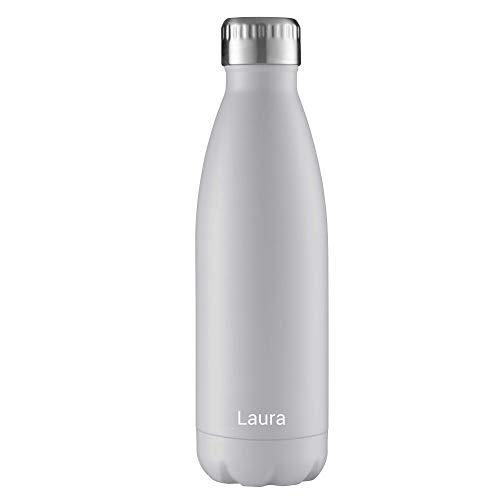 FLSK Isolierflasche 500ml White weiß mit Gravur ** Trinkflasche hält 18 Stunden heiß und 24 Stunden kalt, 100% Dicht, Kohlensäurefest ** inkl. kostenloser Namensgravur