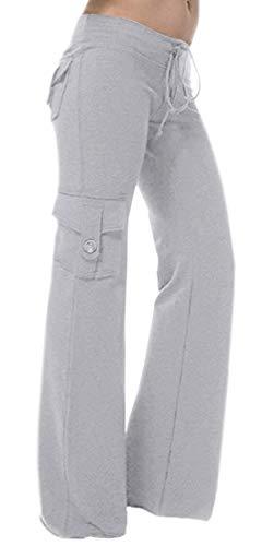 HSRKB Womens Yoga Pants Wide Leg Sweatpants Bootleg Pants with Muti Pockets (Light Gray, XS)