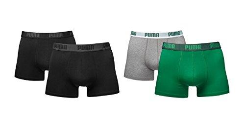 PUMA Herren Basic Boxer Boxershort 4er Pack schwarz/schwarz/grün/grau 200/665 - L