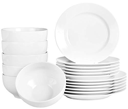 Vajilla de 18 piezas color blanco con platos y cuencos de porcelana auténtica para gastronomía y hogar