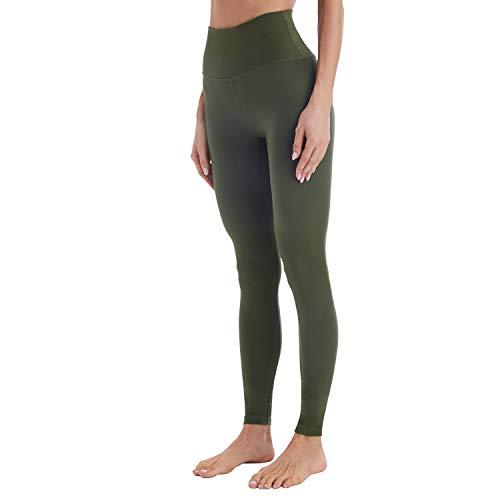 Mipaws Leggings de cintura alta para mujer Pantalones largos de yoga(XS,Aceituna