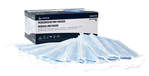 Moss OP Masken. CE-zertifizierter Mundschutz (EN14683 Typ IIR) Gesichtsmaske, 3-lagig 50 Stück. Made in Germany