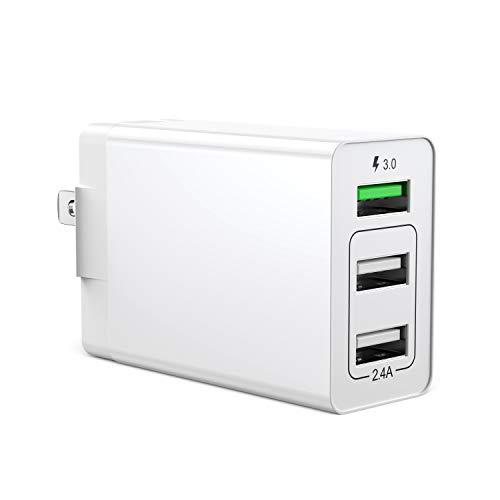 【PSE認証】 USB充電器 QC3.0 搭載 ACアダプター 折り畳み式プラグ 30W 3ポートUSB急速充電器 軽量 コンパクト スマホ充電 海外対応 iPhone Samsung Galaxyなと対応